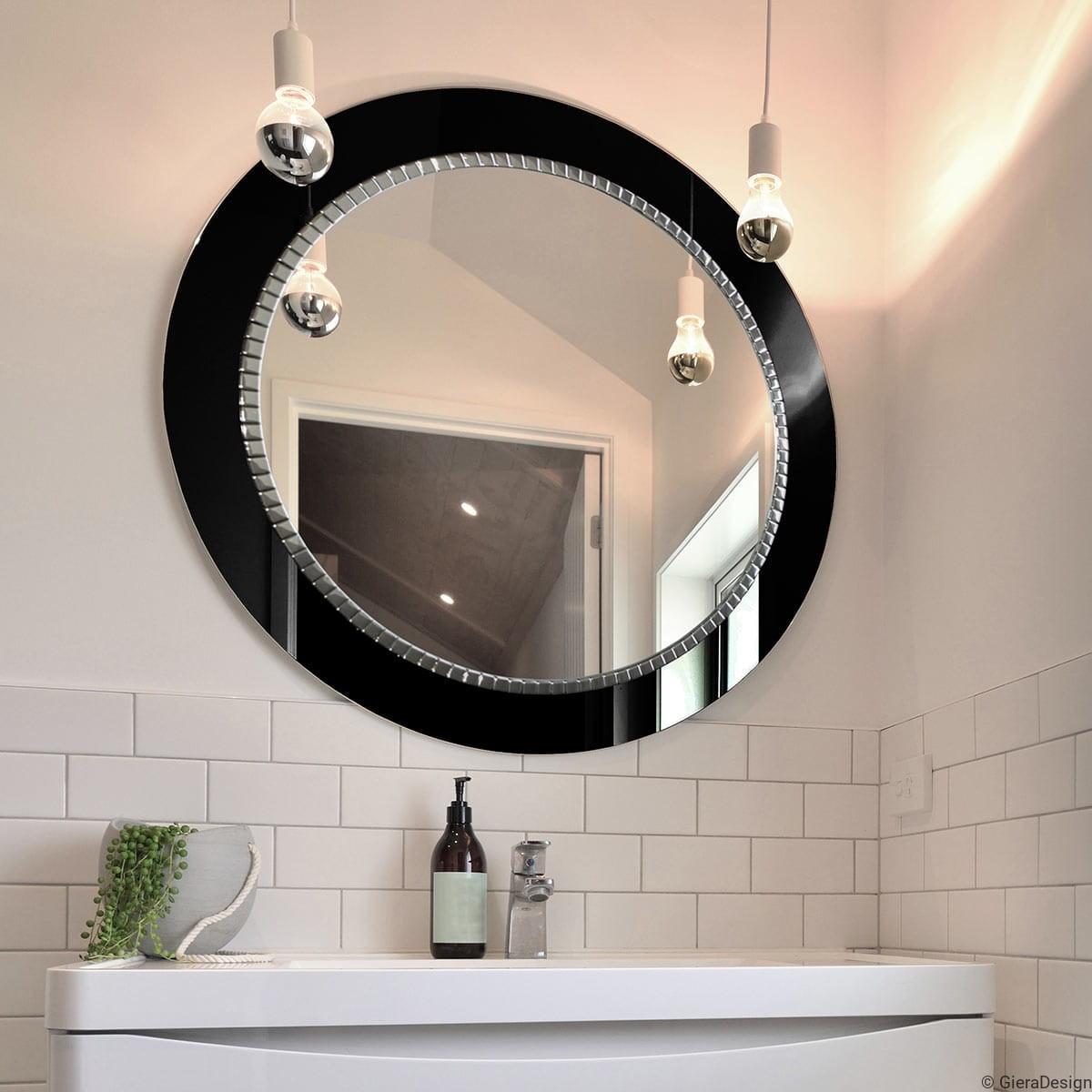 Lustro łazienkowe W Czarnej Ramie Ze Srebrną Mozaiką Bracelet