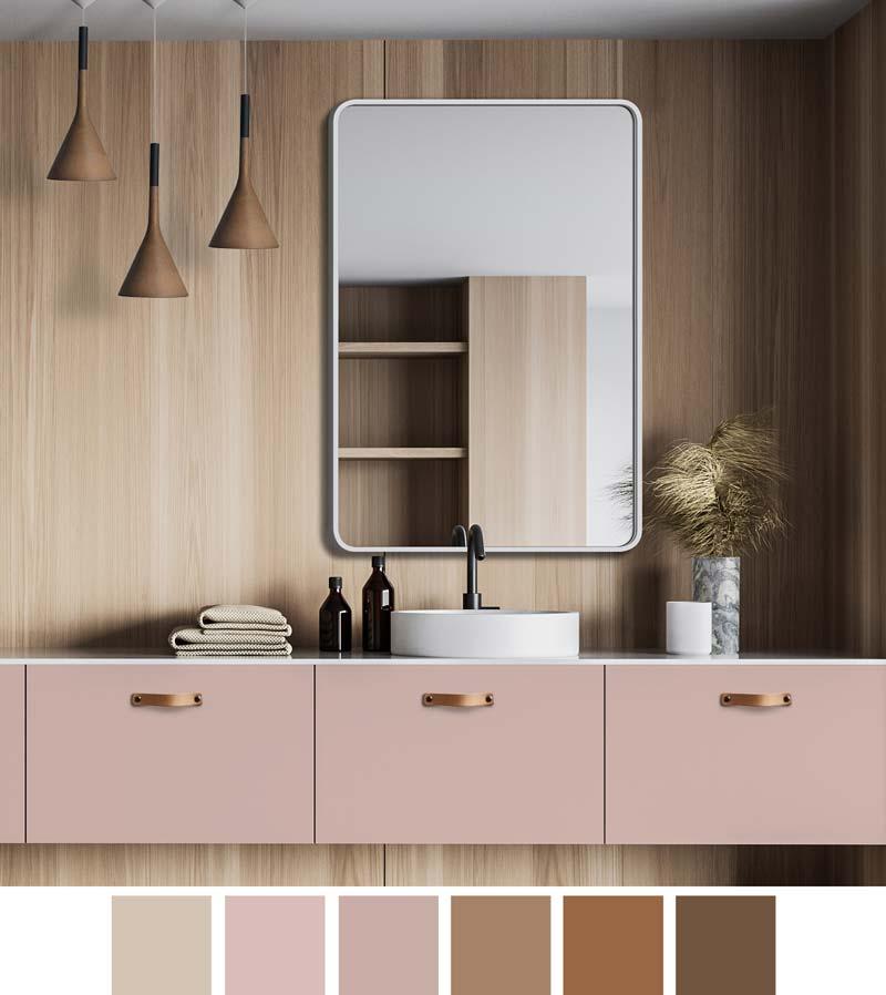 Ярко-розовые шкафы для ванной с деревянной облицовкой на стенах.  Над умывальником зеркало в белой раме с закругленными углами Billet и GieraDesign.