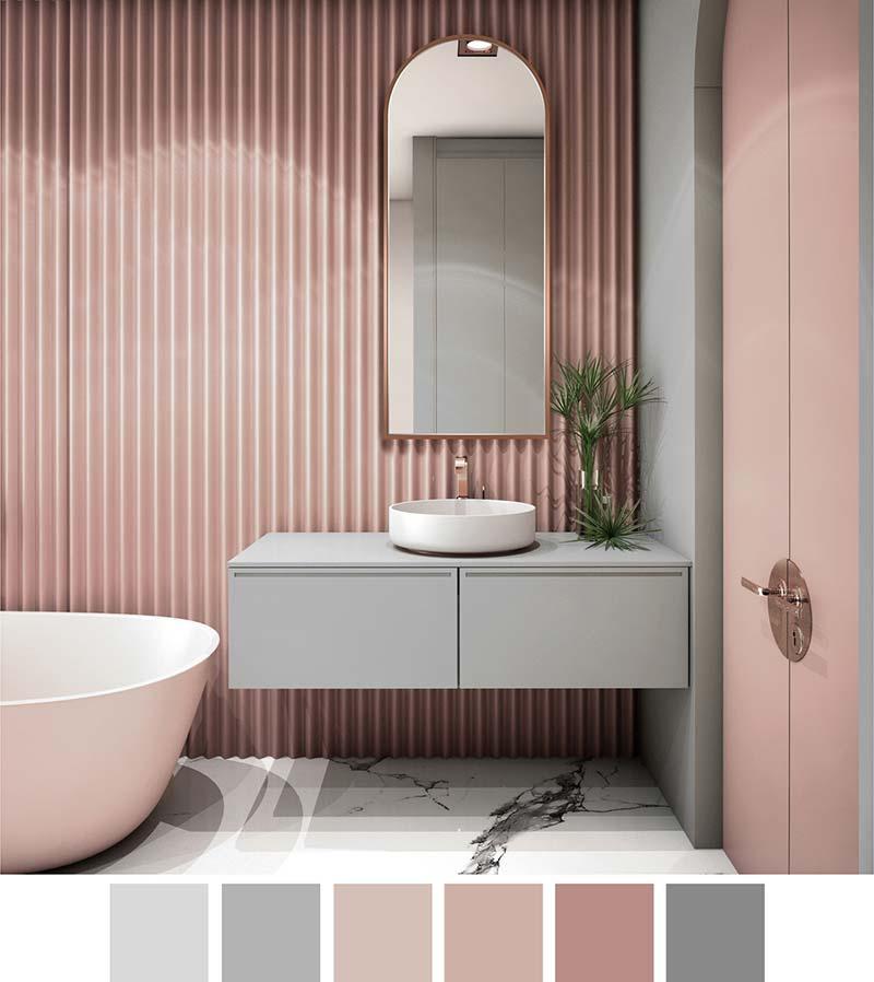 Серо-розовая ванная комната, зеркало с аркой на стене Портал в медной раме, GieraDesign
