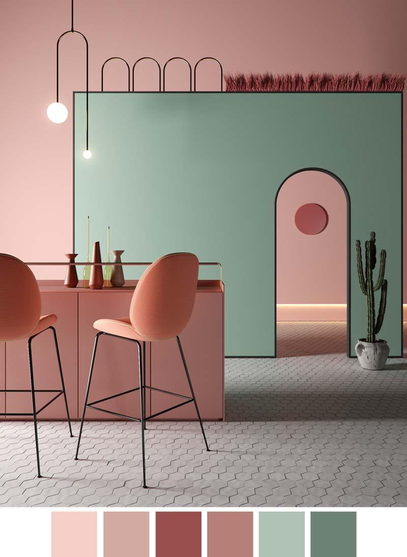 Современная кухня в стиле 70-х с розовой мебелью и стенами, отделанными пудрой и мятой.