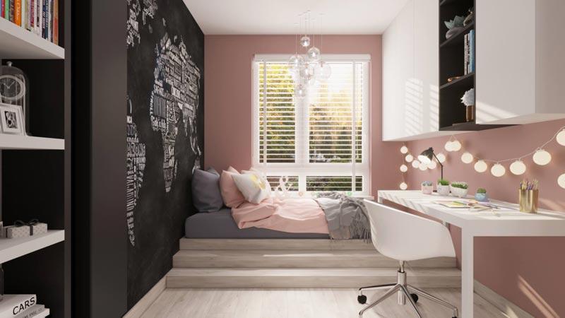 Детская с розово-графитовой стеной
