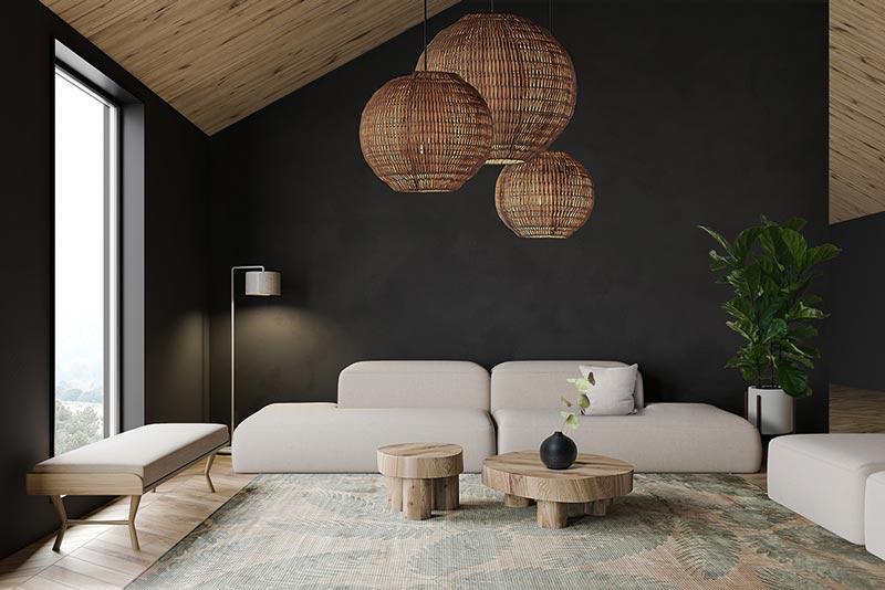 Интерьер просторной гостиной обставлен мебелью ярких цветов и округлых форм.