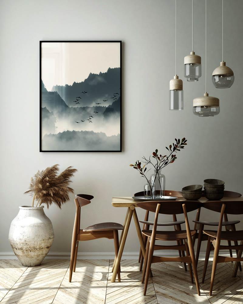 Столовая, сочетающая в себе японский и скандинавский стили.