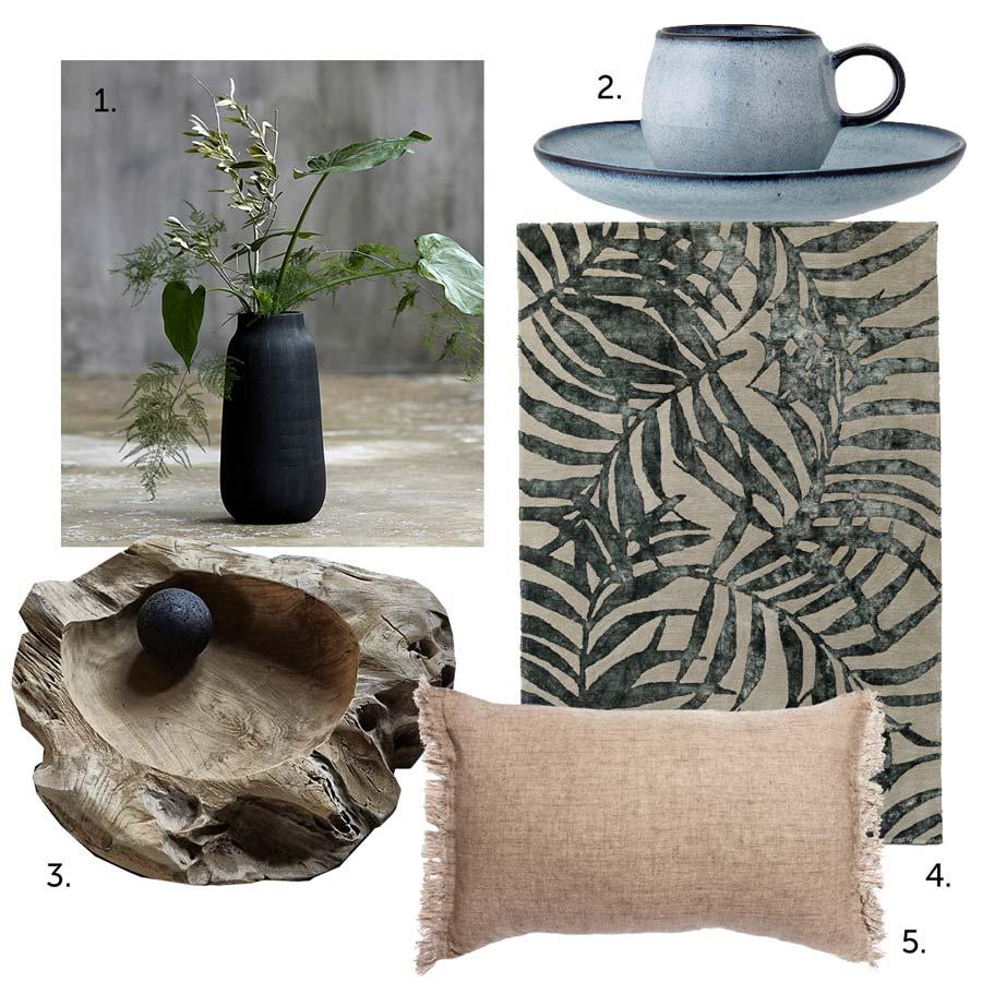 Аксессуары в японском стиле - ваза из черной глины, льняная подушка, ковер, чашка, деревянная миска.