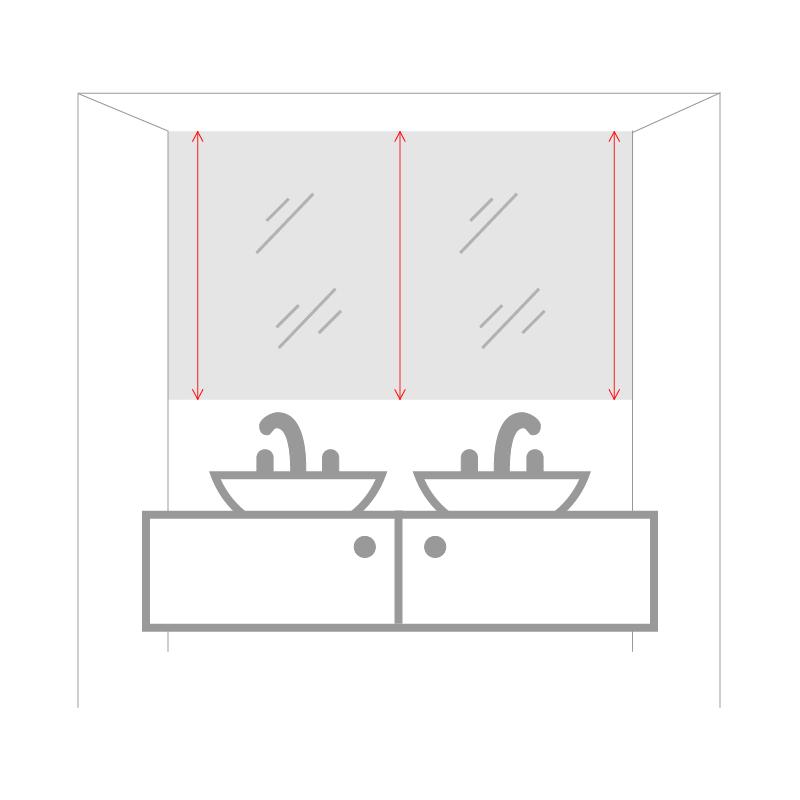 Графика, показывающая, как измерить высоту углубления для зеркала.